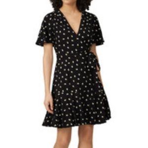 Jill Stuart Floral Black Wrap Tie Waist Boho Dress